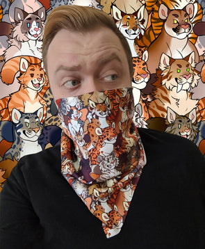 nomad complex good cats feline leopard tiger sabertoothcovid bandanimal bandana animal face vancouver polyester colorful breathable apparel accessories