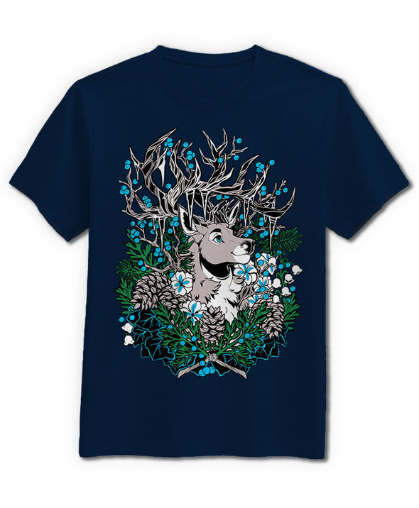 tshirt guardian nomad complex navy blue deer elk forest winter frozen icicles furry fandom fursona apparel