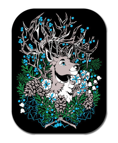 guardian deer snowy ice sticker nomad complex blue white black green furry apparel