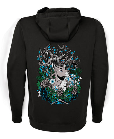 zip up hoodie black guardian nomad complex navy blue deer elk forest winter frozen icicles furry fandom fursona apparel