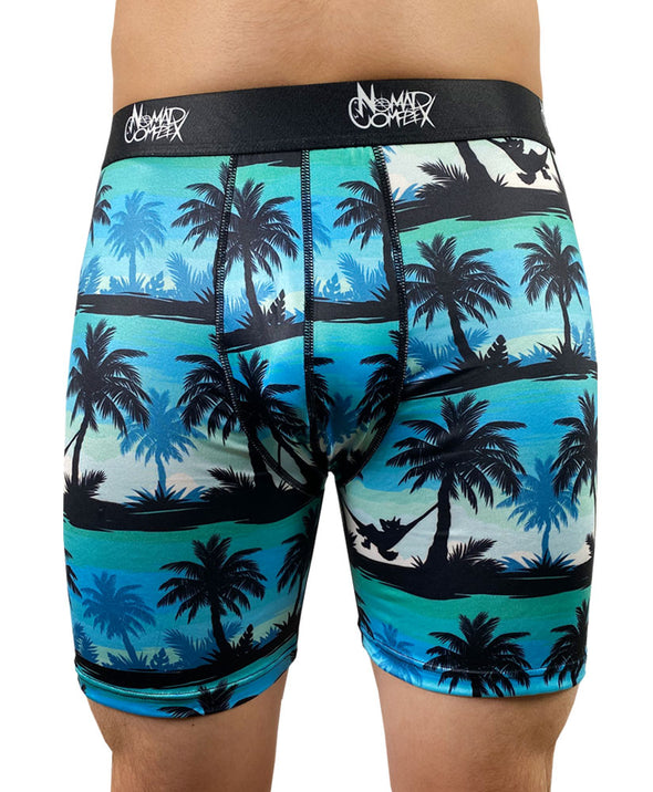 underwear boxer briefs nomad complex tropical hangin out palm trees vacation blue green undies meundies furry apparel fursona wolf