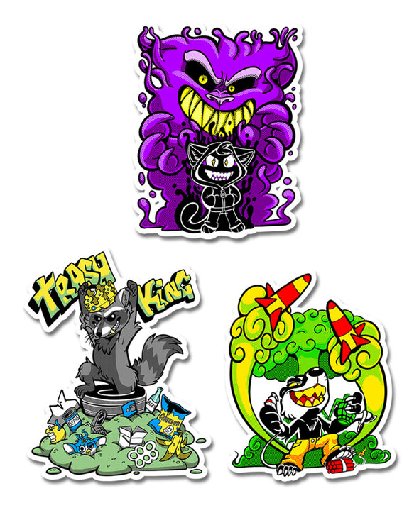 nomad complex 3 pack summoner trash king trashking ballistic badger ghost purple yellow furby vinyl sticker vancouver
