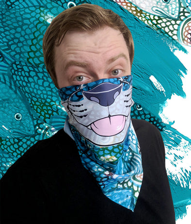 nomad complex otter salmon blue teal bandanimal bandana animal face vancouver polyester colorful breathable apparel accessories