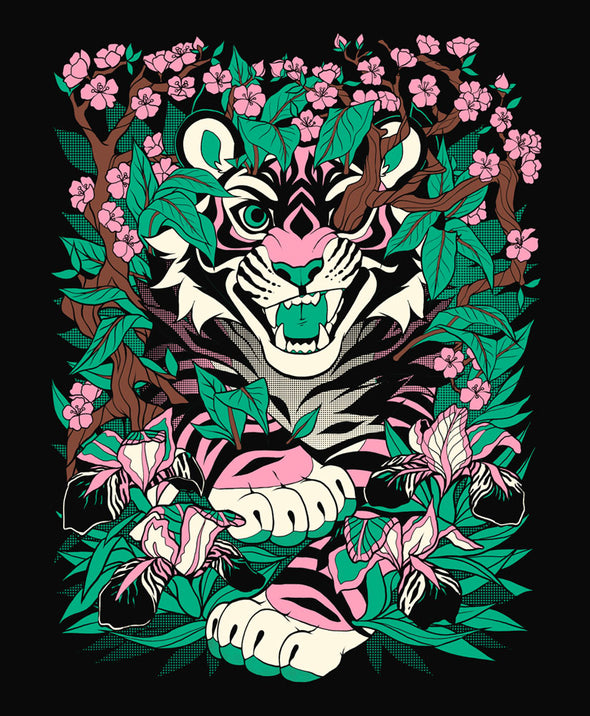 nomad complex overgrowth tiger pink green tshirt cotton apparel crew cut vancouver
