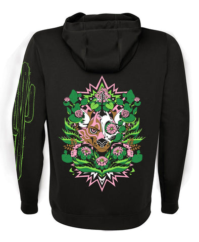zip up hoodie black peyote nomad complex cactus flowers cacti green pink furry fandom fursona apparel desert arizona neon black