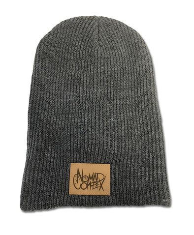 nomad complex NC logo faux leather grey knit beanie toque hat vancouver