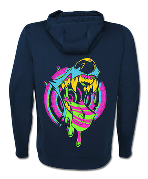 nomad complex trippin out cmyk maw mouth vore navy blue zip up hoodie vancouver