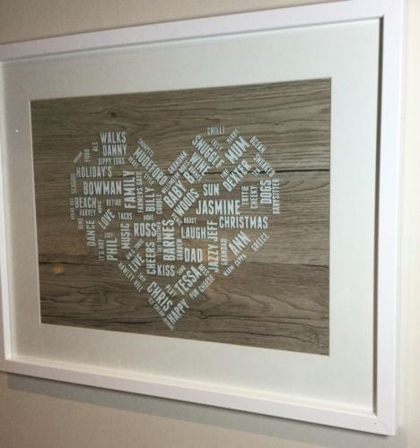 Large Loveheart Personalised Word Cloud - Lilybels