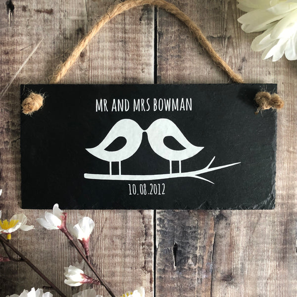 Personalised wedding gift  - Lovebird plaque - Lilybels