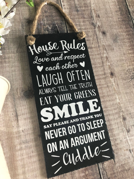 House rules plaque - Family  Rules slate sign - Lilybels