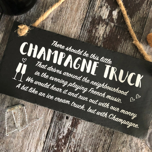 Champagne Sign - Champagne truck slate sign - Lilybels