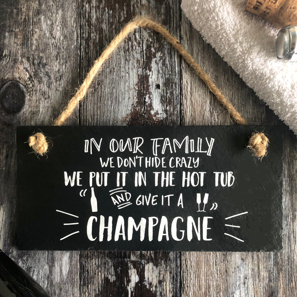 Champagne hot tub sign - Lilybels
