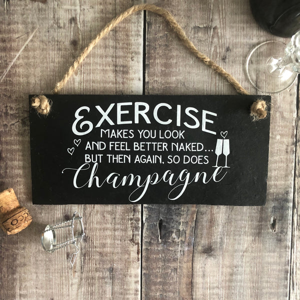 Champagne and exercise sign - Lilybels