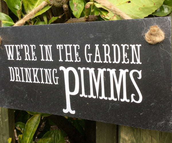 In the garden drinking Pimms sign - Lilybels