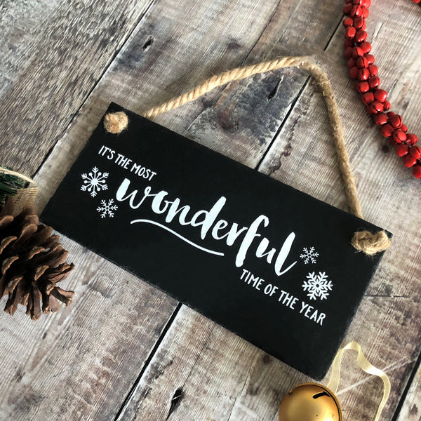 Christmas sign, ' It's the most wonderful time of the year',  Xmas decor, Slate hanging sign with jute rope - Lilybels