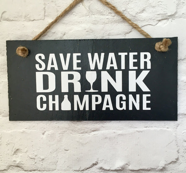 Save water. Drink Champagne slate sign - Lilybels