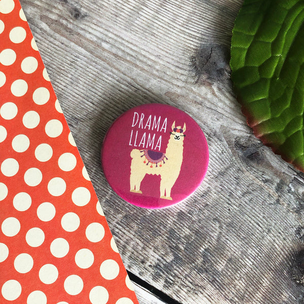 Drama Llama, funny 44mm fridge magnet - Lilybels