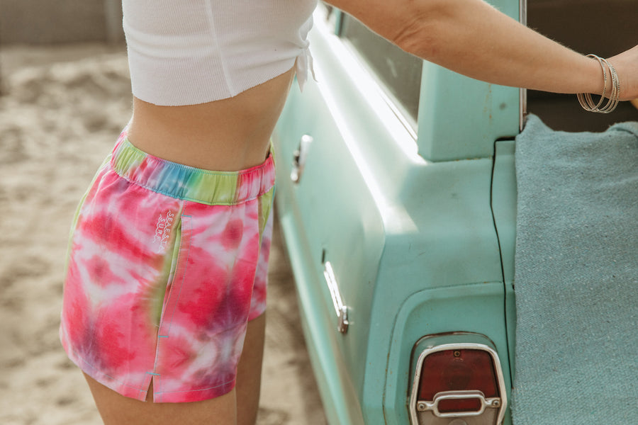 Women's Boardshorts / Sea Ripple / Neon Tie Dye