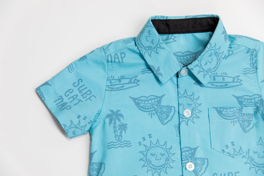 Surf Eat Nap Button Up Shirt | Clear Sky Blue