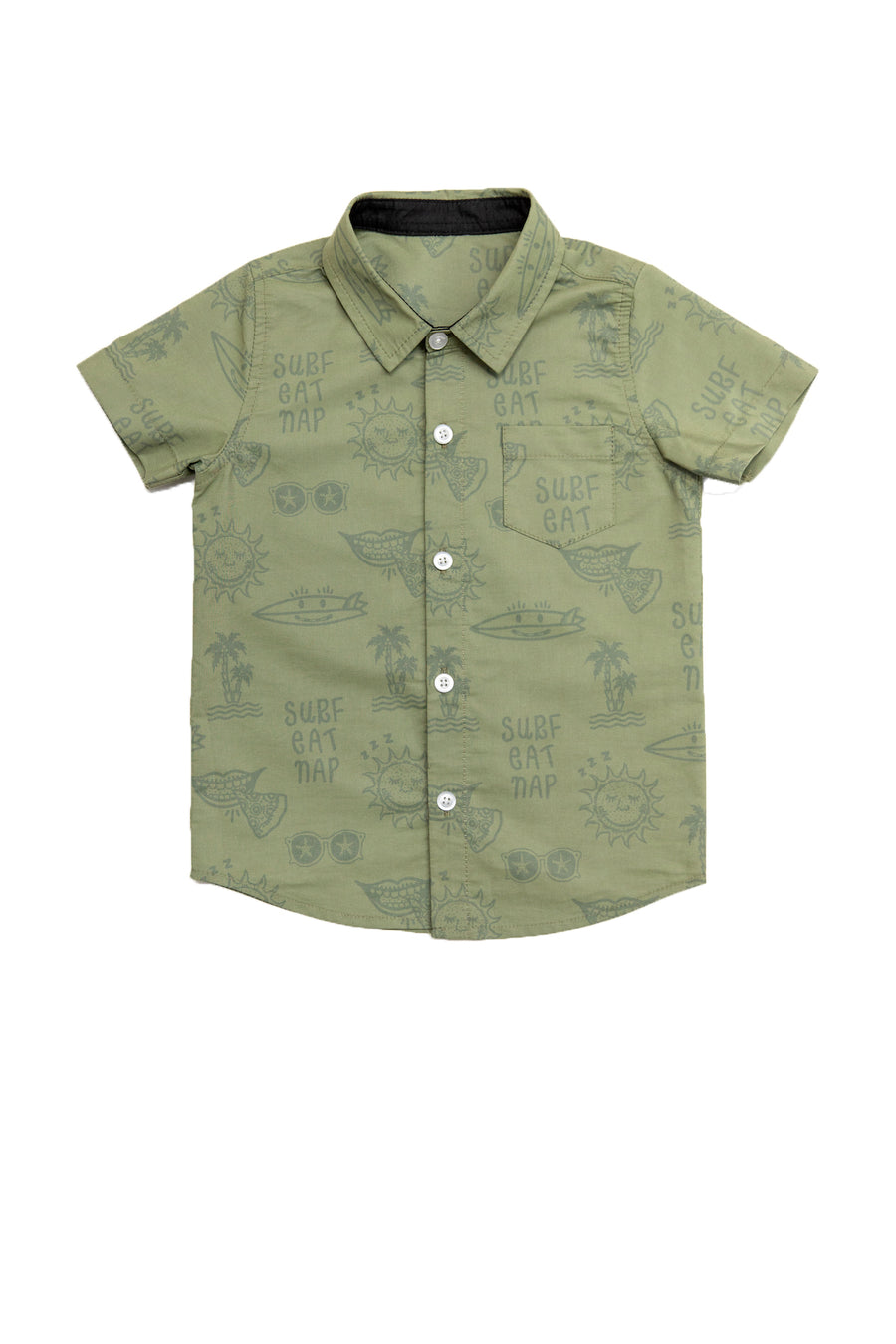 Surf Eat Nap Button Up Shirt | Seaweed Green