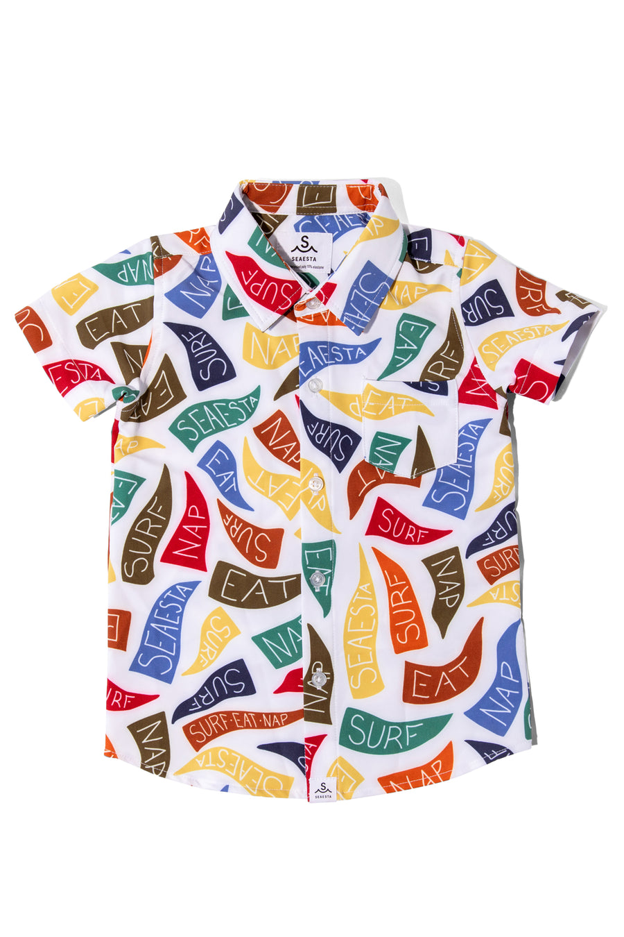 Surf Eat Nap Button Up Shirt | Beach Flags