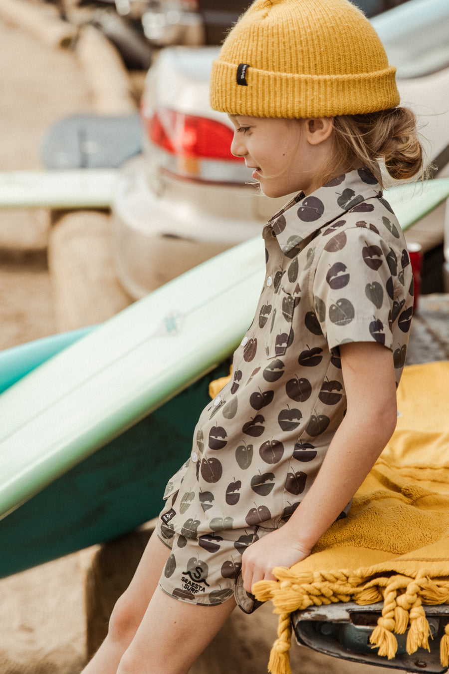 Pommes Button Up Shirt | Tan Camo