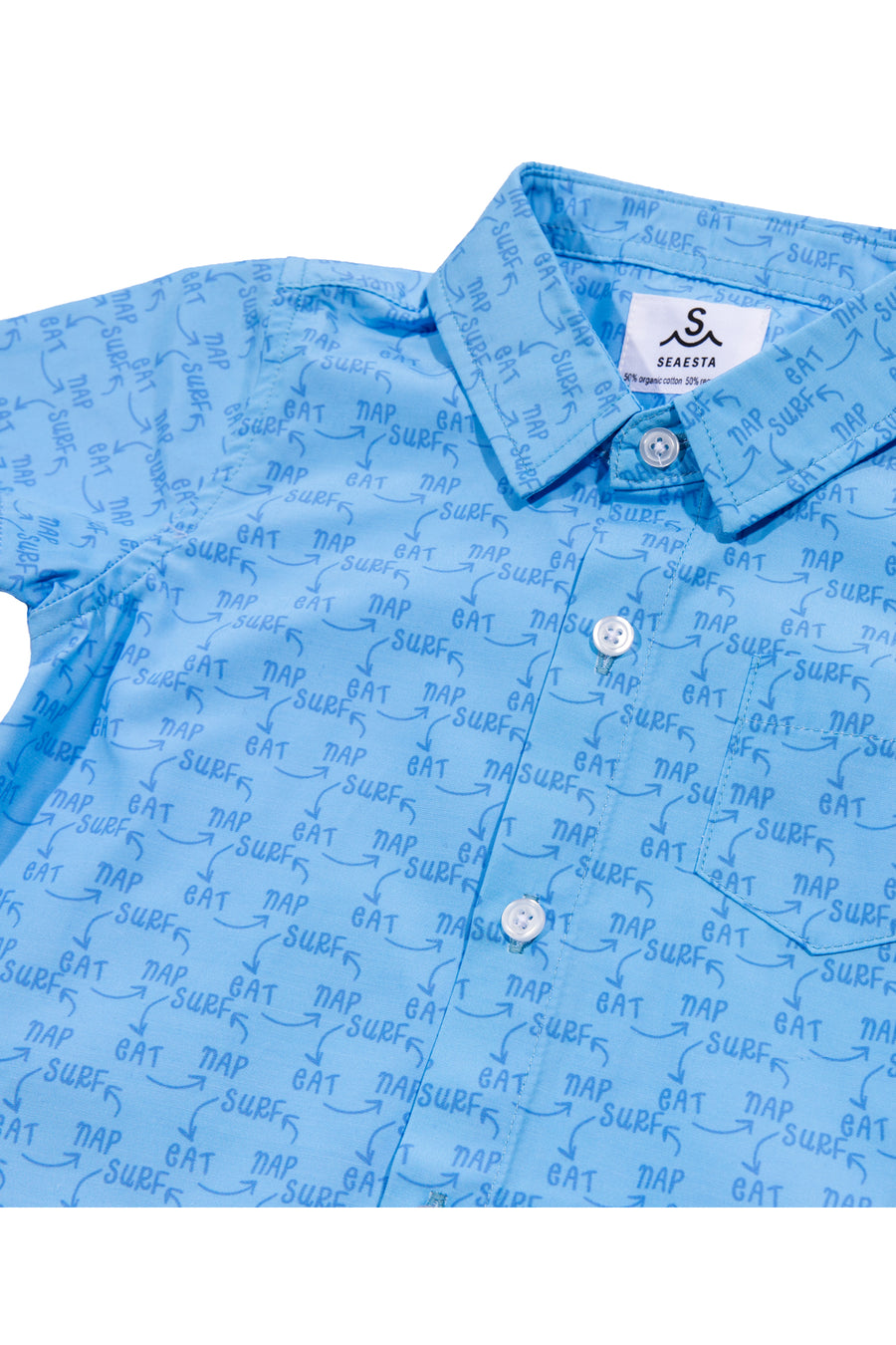 Surf Eat Nap Button Up Shirt | Recycled | Light Blue
