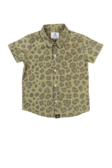 Calico Crab Button Up Shirt / Army Green