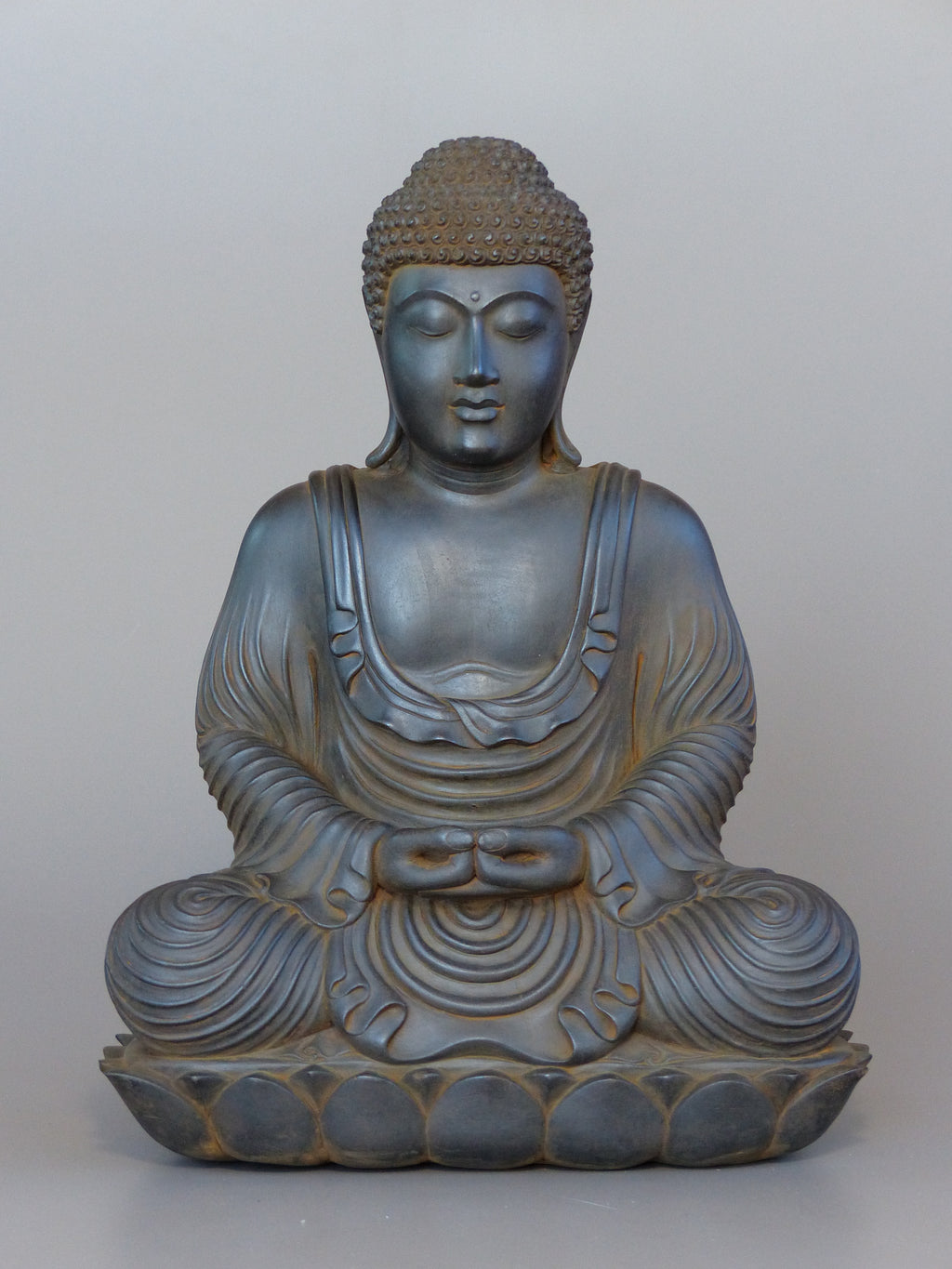 Buddha Statue in Meditation Japanese Style Antique Rust 16 inches
