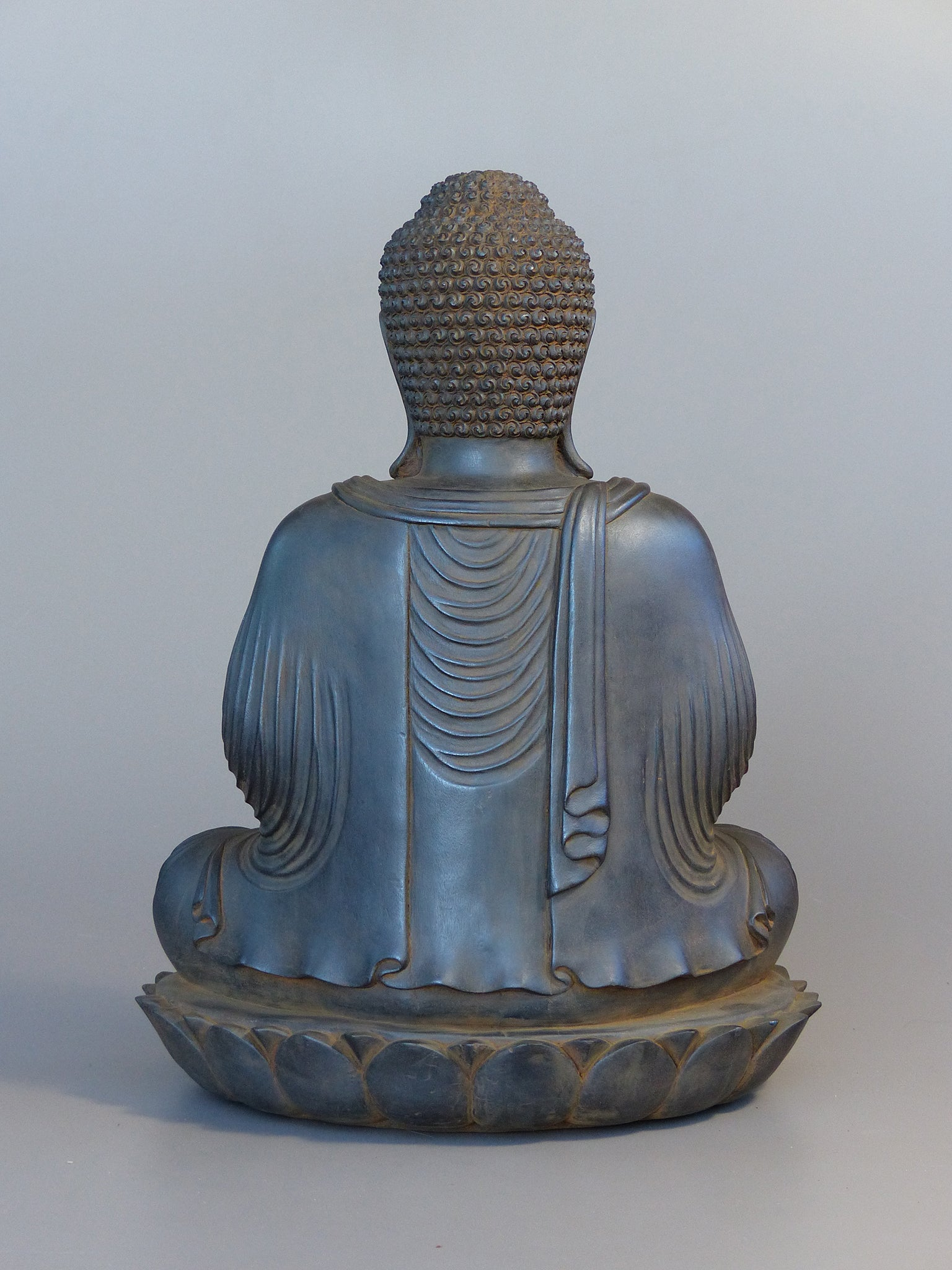 Buddha Statue in Meditation Japanese Style Antique Rust 16 inches back view