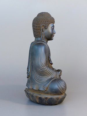 Buddha Statue in Meditation Japanese Style Antique Rust 16 inches side view