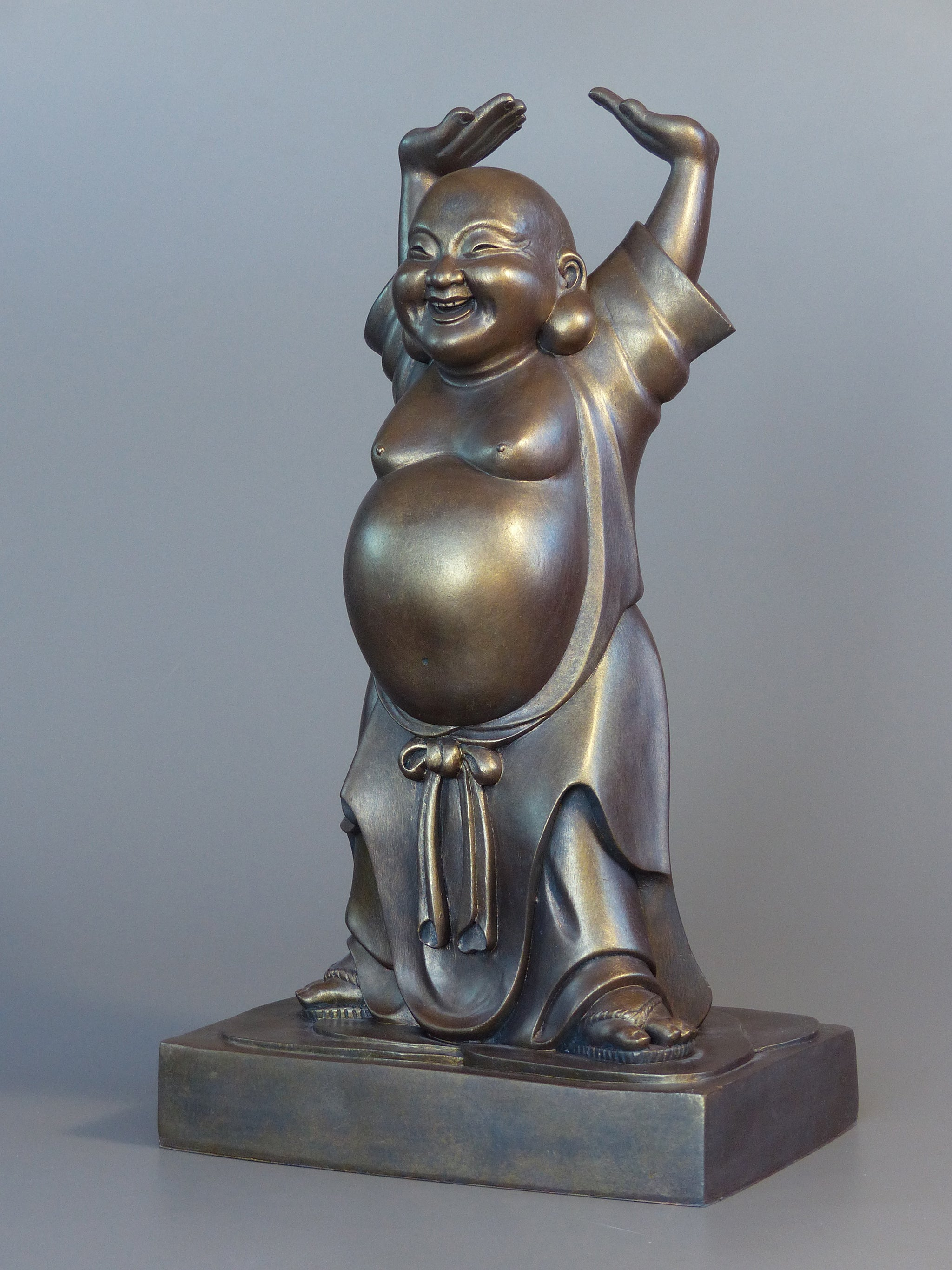 Laughing Buddha Statue Bronze 20 inches 3/4 view