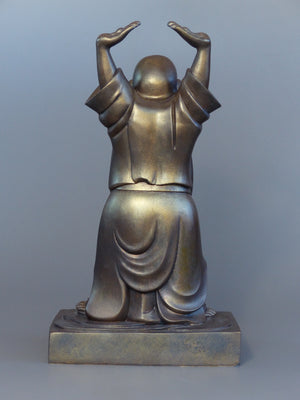Laughing Buddha Statue Bronze 20 inches back view