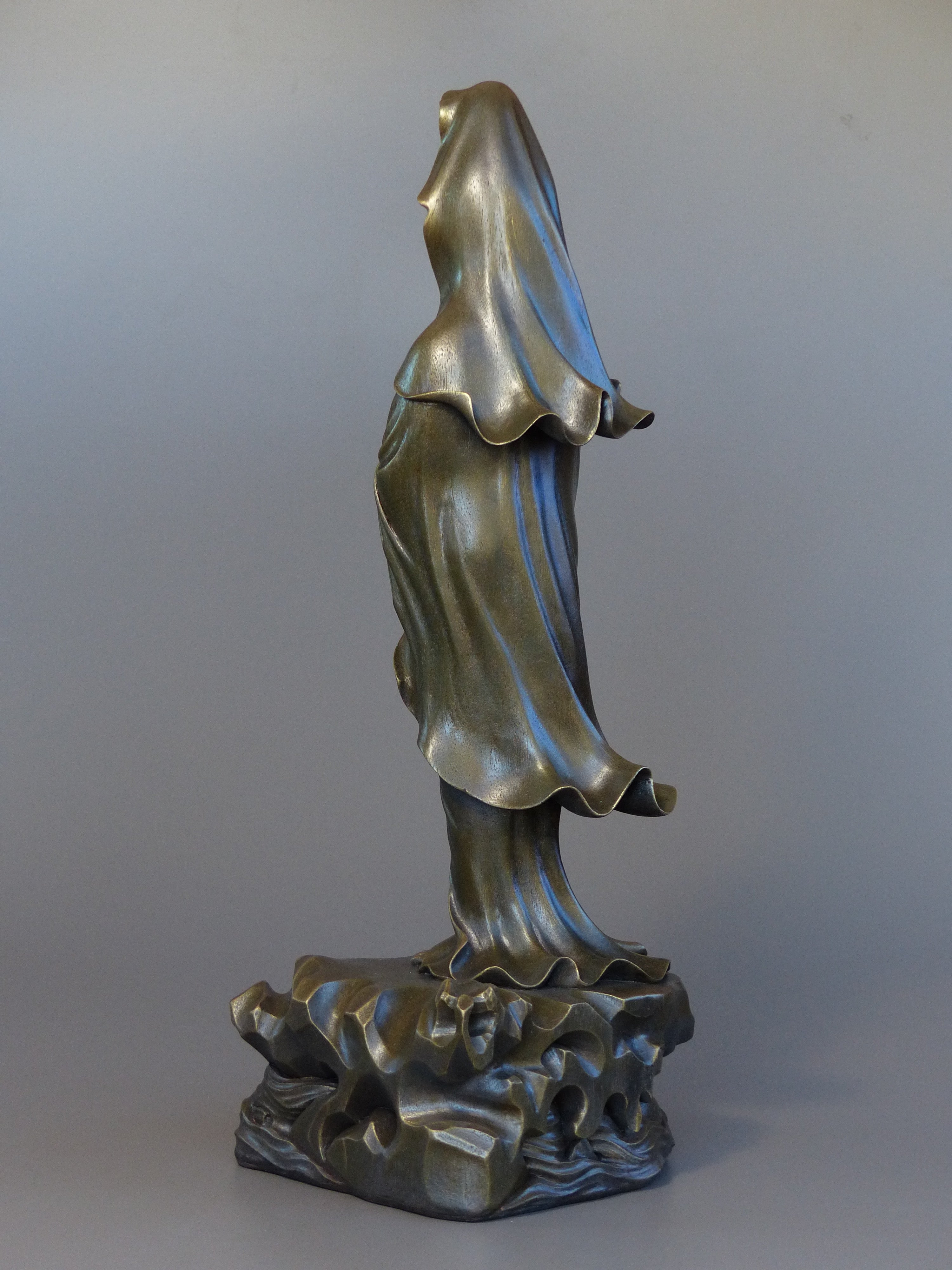 Quan Yin statue standing 24 inches bronze 3/4 back view robes blowing in the wind