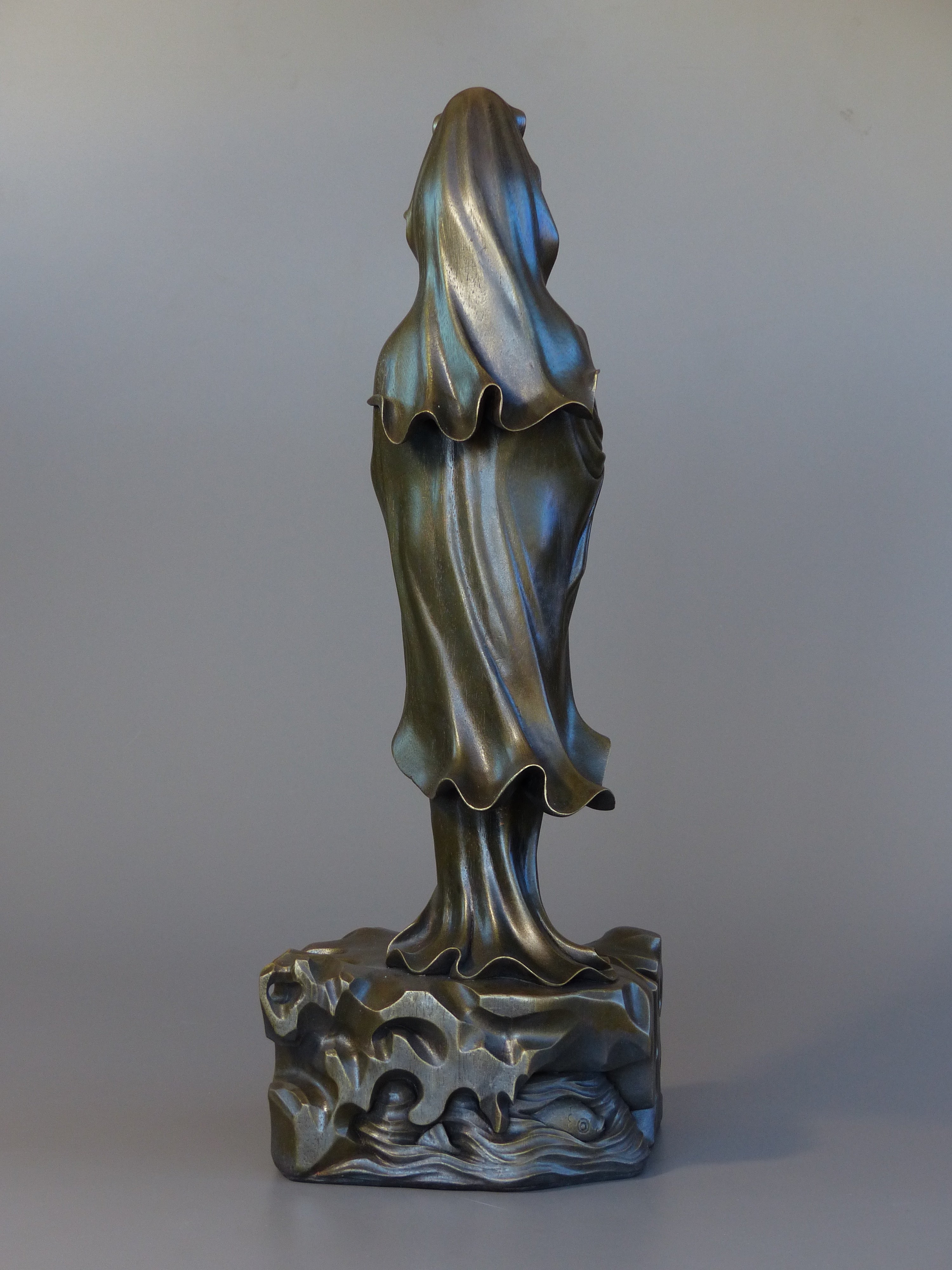 Quan Yin statue standing 24 inches bronze back view