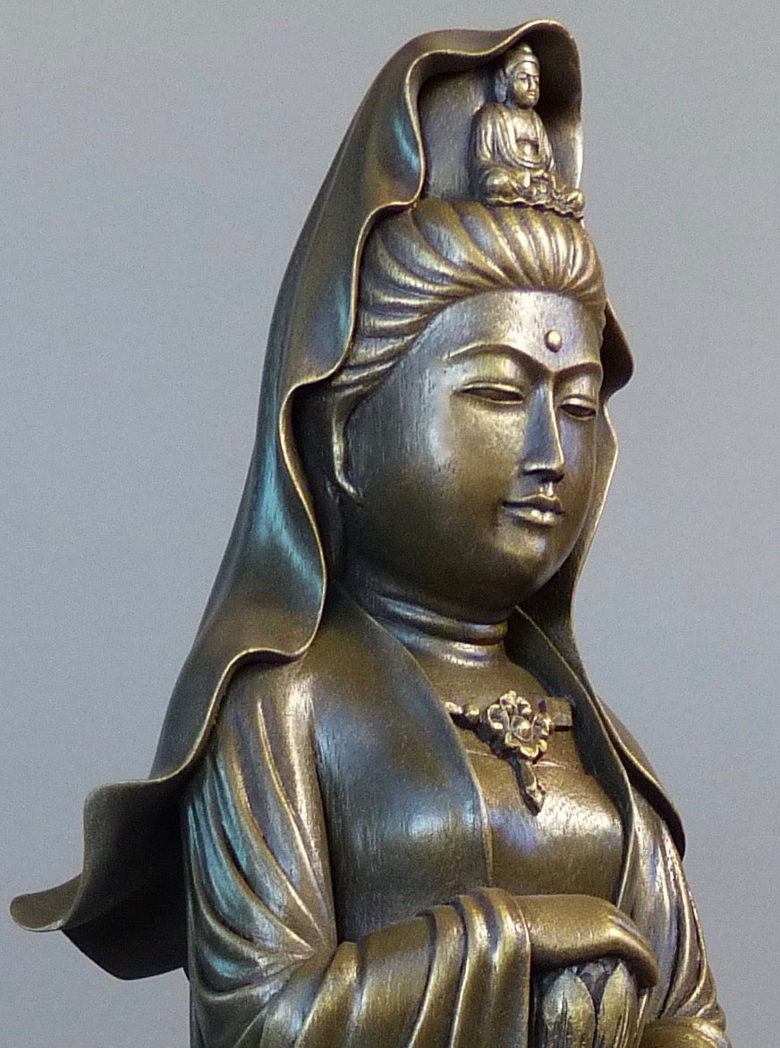 Quan Yin statue standing 24 inches bronze close up