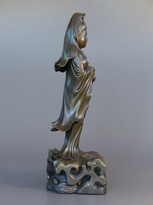 Quan Yin statue standing 24 inches bronze side view
