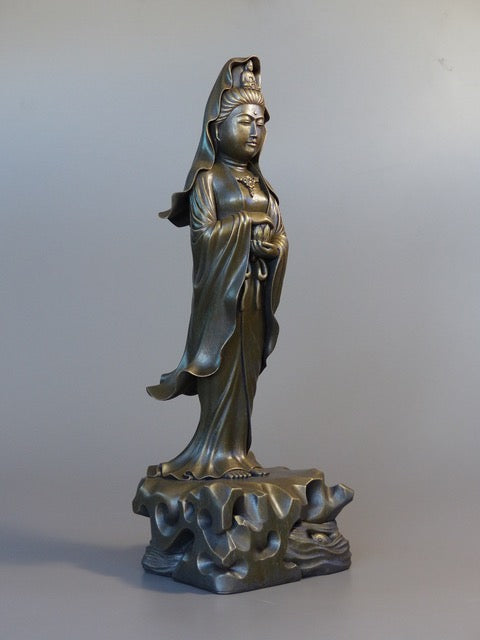 Quan Yin statue standing 24 inches bronze 3/4 view robes blowing in the wind