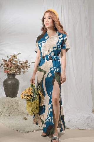 Wendy Printed Linen Maxi with Belt