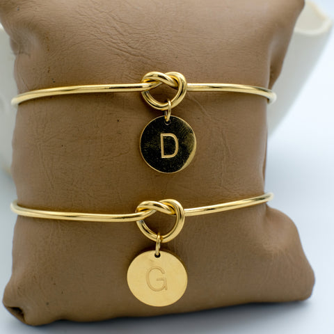 Monogram Disc Gold Filled Bangle