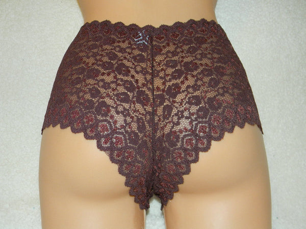 brown lace, crotchless panties, lace, high waist, wedding, crotchless, shorts, lace panties, sexy lingerie woman, night thong, underwear