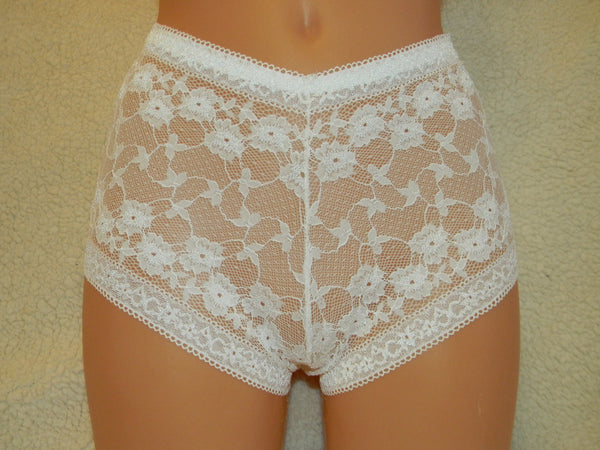 Handmade white,crotchless panties,lace,high waist,wedding,crotchless,shorts,lace panties,sexy lingerie woman,night thong,underwear