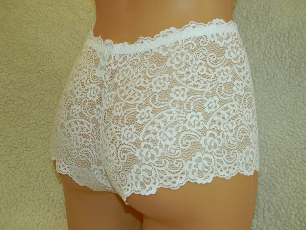 Handmade white,crotchless panties,lace thong,wedding,lace crotchless,shorts,lace panties,sexy lingerie woman,night thong,white flowers, love