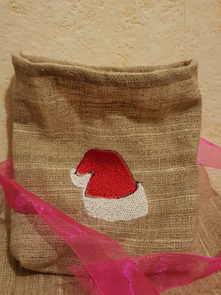 Christmas gift bag,embroidery,Christmas bag,personalized gift,personalized bag,surprise Santa,Christmas hat,Santa hat,bagging,sackcloth,gift