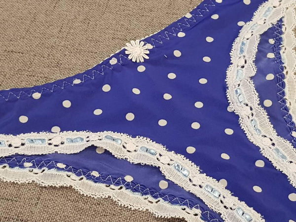 White polka dots,blue,crotchless panties,lace,high waist,wedding,crotchless,shorts,lace panties,sexy lingerie woman,night thong,underwear