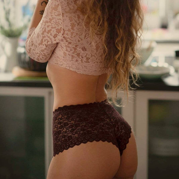 Handmade brown,crotchless panties,lace,high waist,wedding,crotchless,shorts,lace panties,sexy lingerie woman,night thong,underwear,Red lace