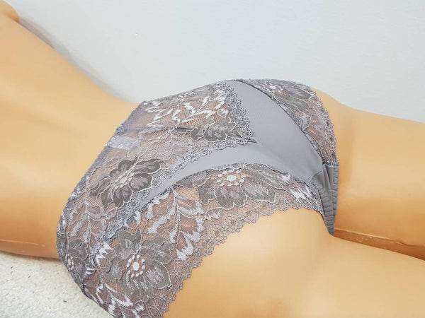 Handmade gray,crotchless panties,lace,high waist,wedding,shorts,lace panties,sexy lingerie woman,night thong,underwear,lace lingerie,vintage