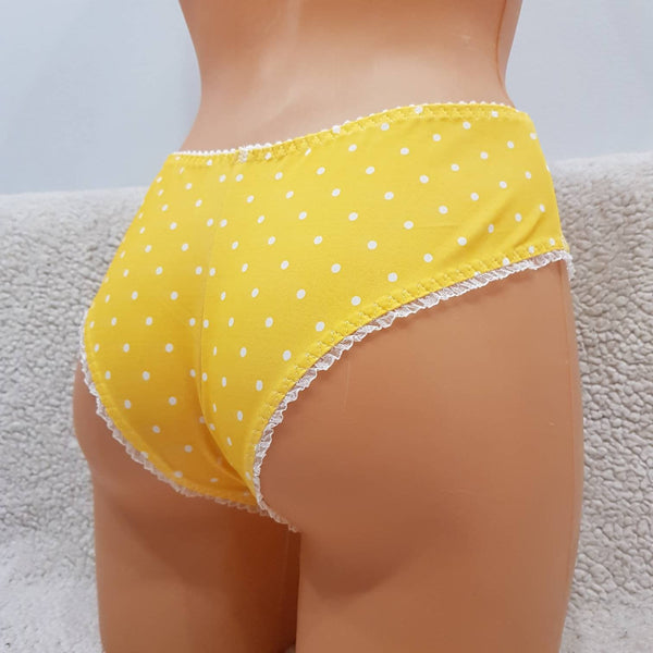 White polka dots,yellow,crotchless panties,lace,high waist,wedding,crotchless,shorts,lace panties,sexy lingerie woman,night thong,underwear