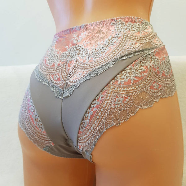 Handmade pink,crotchless panties,lace,grey pink,wedding,crotchless,shorts,lace panties,sexy lingerie woman,night thong,underwear,pink lace
