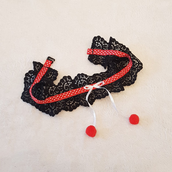 Handmade choker lace necklace collar black color with red balls and white bow